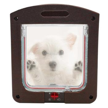 4 Way Safe Lockable Cat Dog Door Small Dog Kitten Lock Flap Pet Tunnel White Brown Plastic Animal Small Pet Cat Dog Gate  1