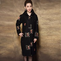New2017High end middle age women woolen coat winter hooded pea coat elegant embroidery long trench coat overcoat plus sizeXXXXL