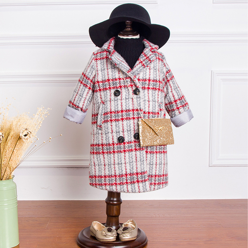 Children in autumn and winter thick quilted coat 2017 girls long wool coat dress hot style three points children quilted loose coat