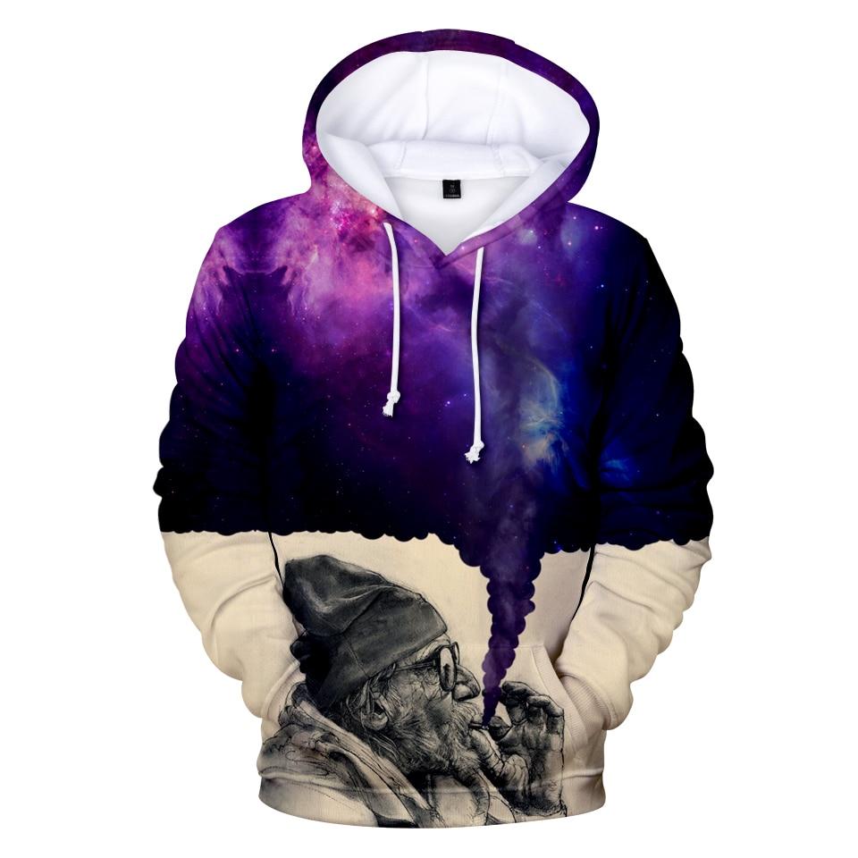 LUCKYFRIDAYF 2018 Smoker Galaxy 3D Print Hoodies Sweatshirts Men/Women Funny Star Sky Mens Hoodies Sweatshirt Casual Clothes 4XL