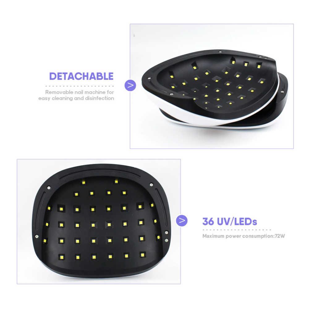 שמש H4 בתוספת UV מנורת LED נייל מנורת 72W שני יד מנורת מסמר מייבש עם 36 נוריות אוטומטי חיישן זמן תצוגת מניקור נייל אשפרה ג 'ל