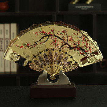 HOT SALE foreign business gift with box plum blossom flower CHINA ART gilding fan copper statue --Collector Edition