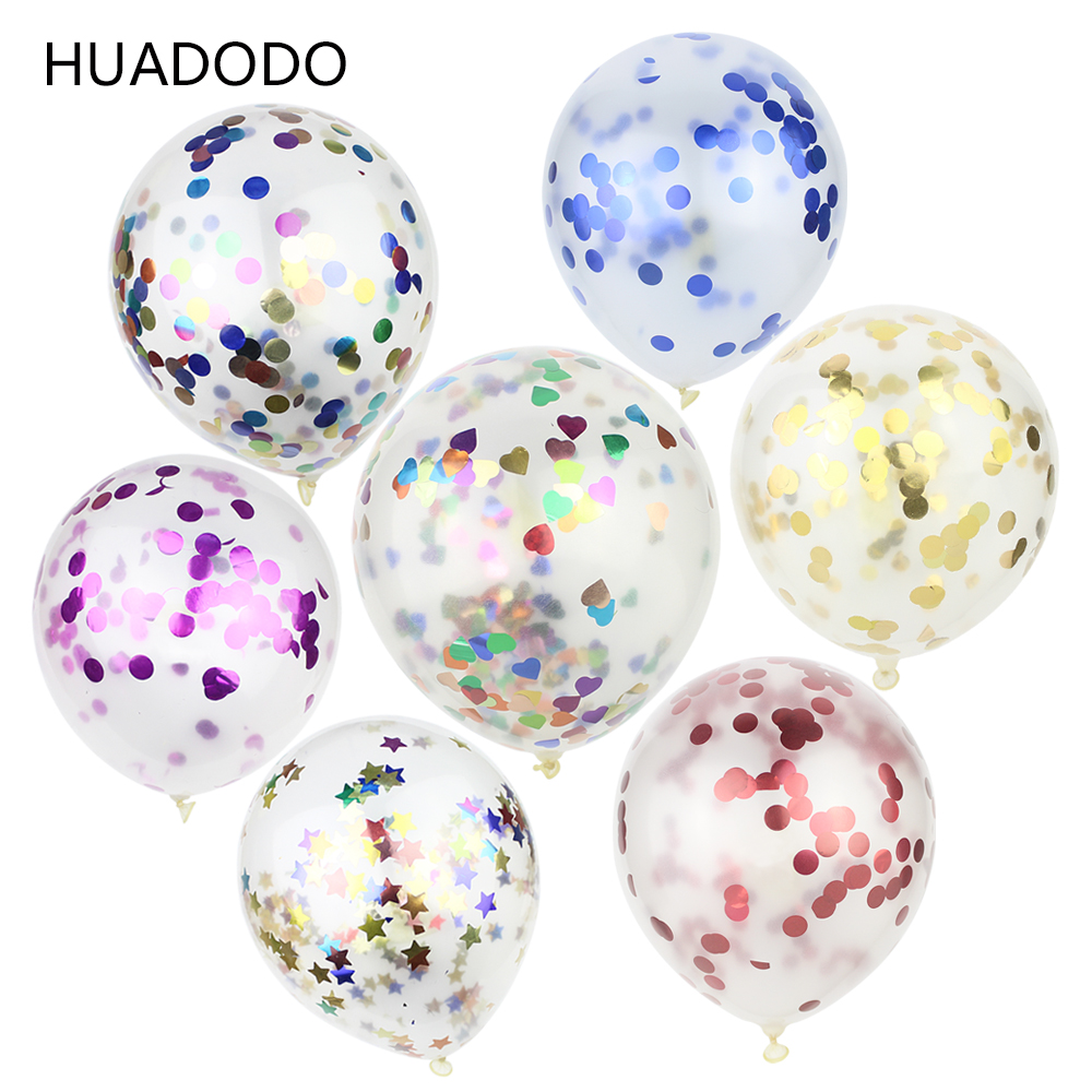 HUADODO 5pcs 12inch Confetti Balloons Clear Latex Balloon for Wedding Decoration Happy Birthday Baby Shower Party Supplies