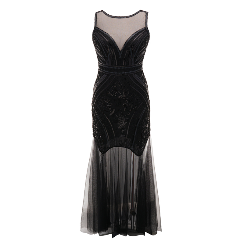Solid Color Women Long Mesh Party Dress Vintage Lady Sleeveless O Neck Maxi Formal Sequin Dress