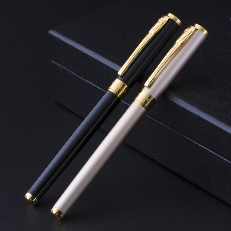 High Quality Gold Clip 0.5mm Fountain Pen Metal Iridium Point Ink Set Luxury Business Gift Stationery Office Supplies цена