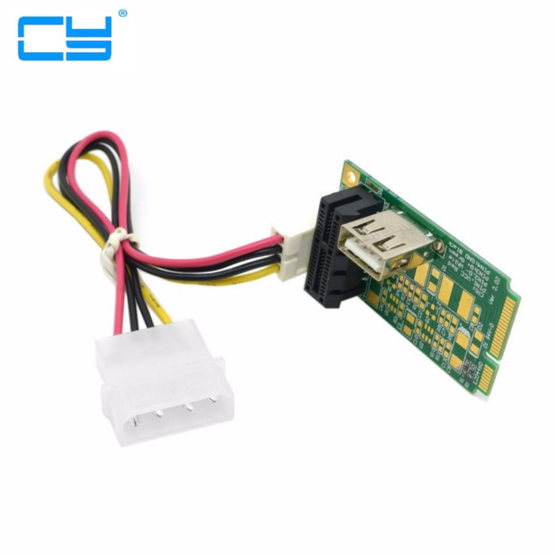 Mini PCI-E to PCI-E x1 pci Express 1X Extension Cord mini pcie to pcie Adapter Card with USB Riser Card 2pcs cf mini pci e mini pci e adapter mini pci express cf card to mini pci e express adapter as ssd for eeepc 901 900a