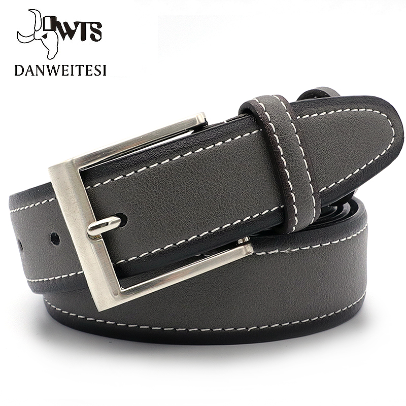 [DWTS]Designer   Belts   Men High Quality   Belts   Cummerbunds Leather   Belt   Men Male Genuine Leather Strap Pin Buckle ceinture homme