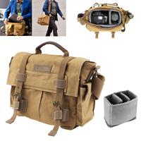 Vintage SLR Photo Camera Bag Photo Video Soft Canvas Pack Bag Travel Camera Protective Case for Canon / Nikon / Sony / Pentax