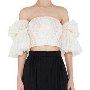 Image 3 - TWOTWINSTYLE סטרפלס חולצה לנשים מכתף רקמת ראפלס אבוקה שרוול סקסי קצר חולצות קיץ אופנה 2019 בגדים