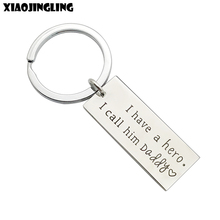 XIAOJINGLING Stainless Steel Key Chain Fashion Charm Keyring 'I have a hero.I call him Daddy' Trendy Birthday/Fathers Day Gift