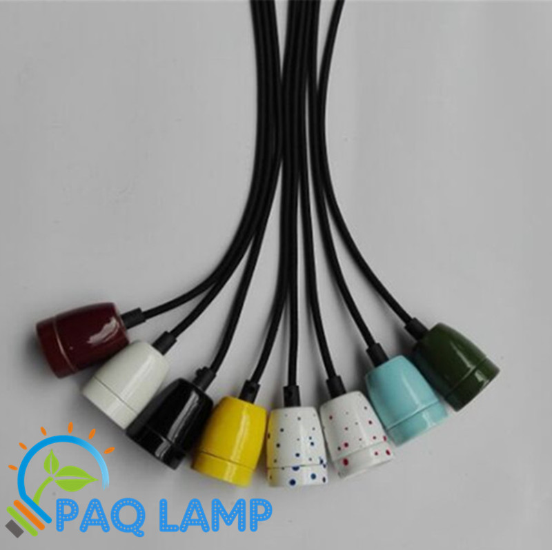 Simple Lamp Pendant Lights Colorful Ceramic Lampholder