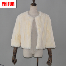 2019 Hot Women Real Natural Rex Rabbit Fur Coat Fashion Short Style Rex Rabbit Fur Jacket Winter Real Rex Rabbit Fur Overcoat cheap Double-faced Fur Real Fur YH-FUR-42902 Thick (Winter) REGULAR Natural Color O-Neck Nine Quarter Covered Button Solid Casual