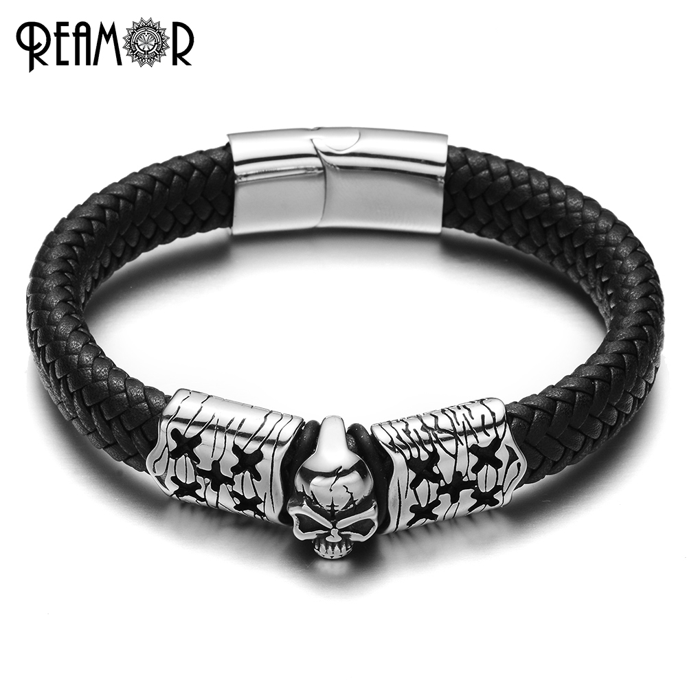 REAMOR Trendy 12mm Width Braided Leather Stainless Steel Skeleton Male Bracelets Cracked ...