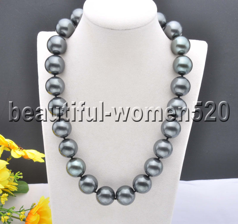 Z8305 20mm Black Round SOUTH SEA SHELL PEARL NECKLACE CZ Cougar 20inchZ8305 20mm Black Round SOUTH SEA SHELL PEARL NECKLACE CZ Cougar 20inch