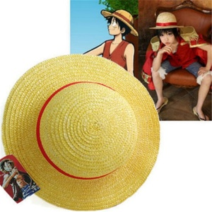 Cosplay Japanese cartoon props hat Luffy strawhat one piece hat children/adult Straw Hat Visor(China)