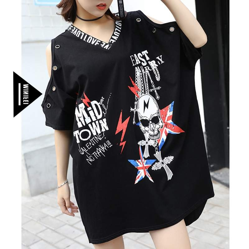Irregular Top Tees V Neck Skull Print Wome punk rock loose t Shirt vintge long t shirt hiphop tees Big Size LT213S30