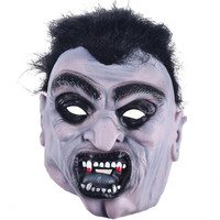 Black Hair Angry Zombie Demon Full Head Mask Latex Devils Scary Mask Halloween Prank Prop For