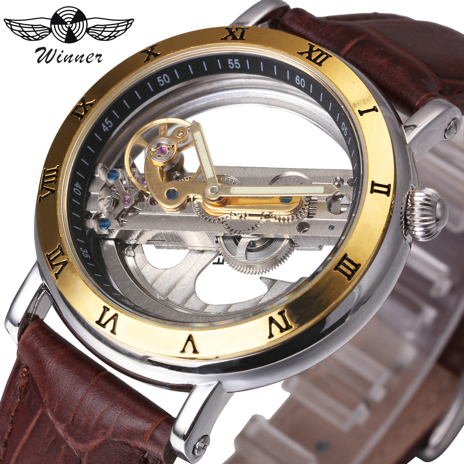 WINNER Top Brand Luxury Men Watch Golden Bridge Design Roman Number Genuine Leather Strap Royal Male Auto Mechanical Wristwatch winner dress classic men automatic mechanical watch stainless steel strap blue roman number transparent case design wrist watch