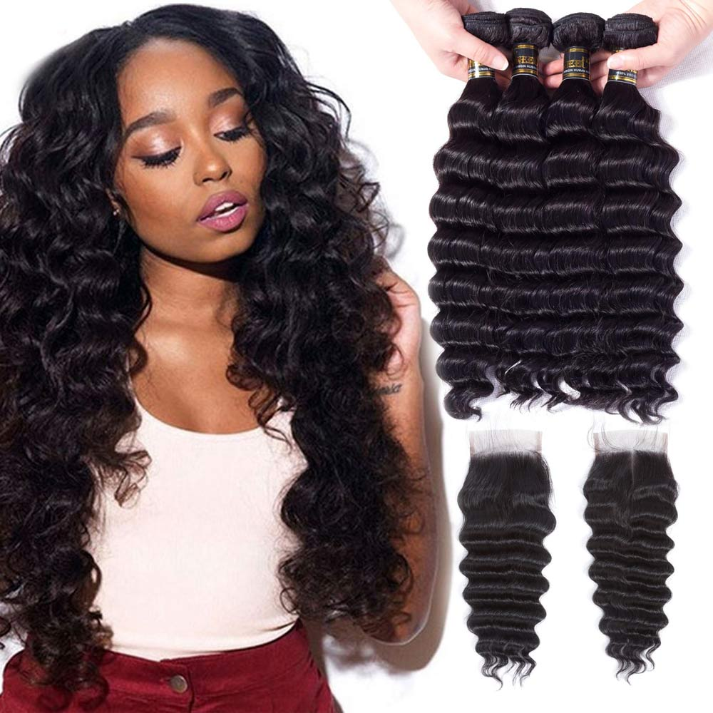 Uneed Peruvian Hair Loose Deep Wave With Closure 3/4 Bundles With Closure Remy Human Hair Weave Bundles With Lace Closure 4X4