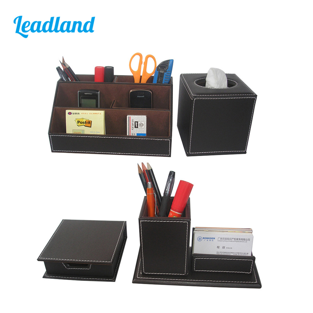 Office Accessories Desk Organizer Set Stationery Organizer PU Leather Pencil Pen Holder Memo Box Tissue Box Storage Boxes T42