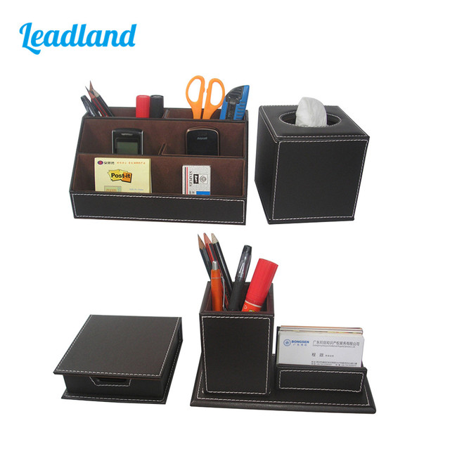 Office Accessories Desk Organizer Set Stationery Organizer Pencil Pen  Holder Memo Case Tissue Box Storage Boxes