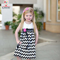 KAMIMI girls stripe Dress 2017 summer Children Casual Dresses Floral bow Kids Striped Dress soft cotton baby girls clothes A003