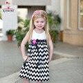 KAMIMI niñas Vestido de la raya 2017 Niños del verano Ocasional Vestidos Floral bow Kids Vestido A Rayas de algodón suave del bebé niñas ropa A003