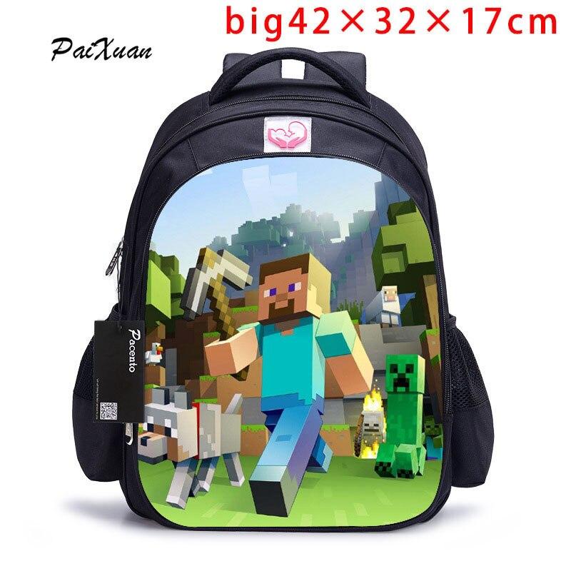 Adolescente MineCraft Cartoon Mochila bolsas de escuela de dibujos animados Hot primaria Mochila bolsas de escuela para niños y niñas Mochila Sac A dos