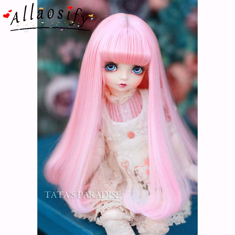 Allaosify 1 PCs Straight Wig 1/3 1/4 1/6 Bjd Doll Wig High Temperature Fiber BJD Hair Free Shipping
