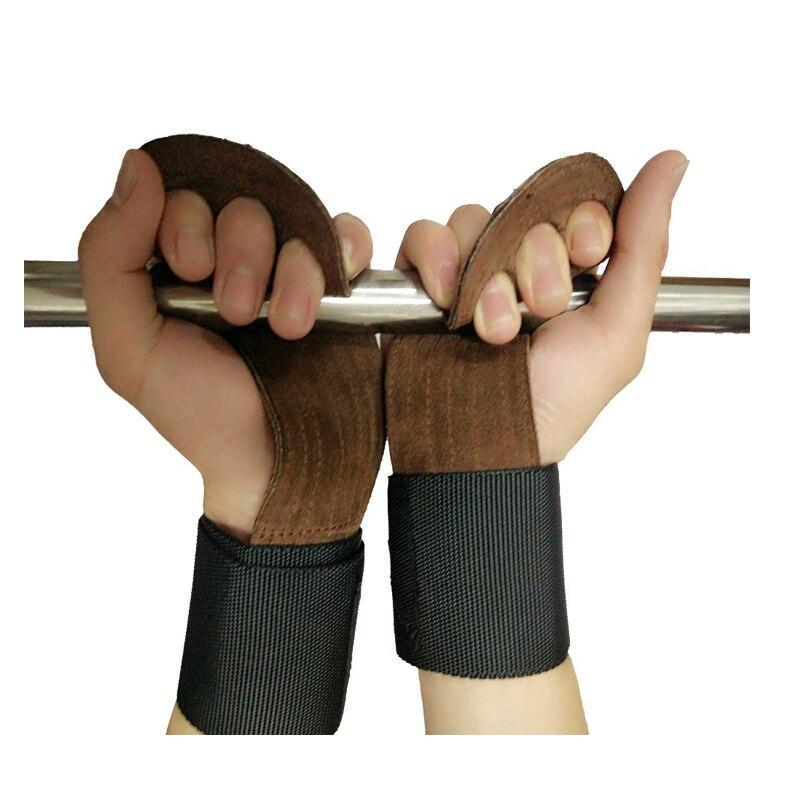 Livraison gratuite en cuir à la main bar poignées, de gymnastique poids de levage gants, support de poignet avec palm gants pour le fitness, force