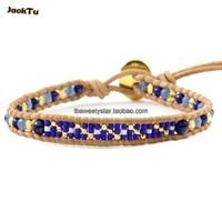 2016 lapis mixed beads seed beads single wrap bracelet