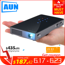 AUN MINI Projector D5S, Android 7.1 (Optional 2G+32G) WIFI Bluetooth, Portable LED Projector, 3D Beamer for Home Cinema