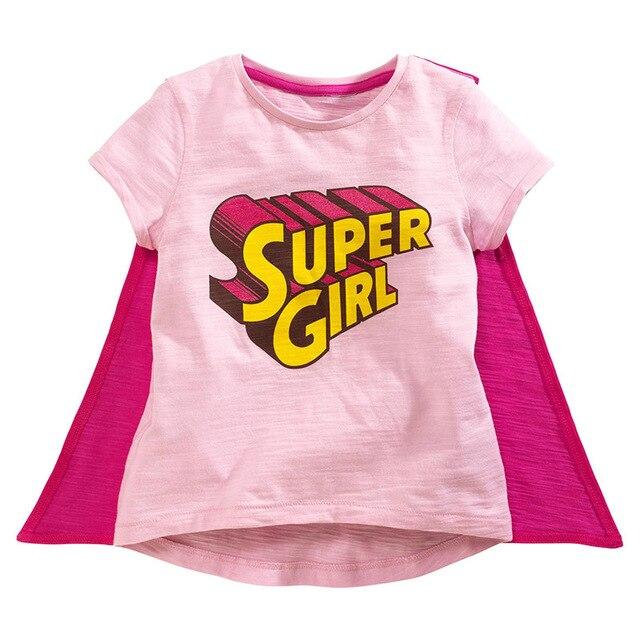 52c4f8de Toomine Summer Party T-Shirt Girl Supergirl Short Sleeve Girls T Shirts Kids  Leisure Clothing Cute Cartoon 100% Cotton T-shirt