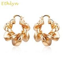 Ethlyn нигерийские большие полые серьги-кольца женские медь золото Купер модные вечерние свадебные повседневные аксессуары E129