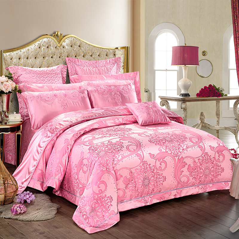 New High precision Silk Cotton Satin Luxury Jacquard Bedding Set Yarn Dyed Duvet cover Bed Spread Pillowcase Queen King4/6/8/9PcNew High precision Silk Cotton Satin Luxury Jacquard Bedding Set Yarn Dyed Duvet cover Bed Spread Pillowcase Queen King4/6/8/9Pc