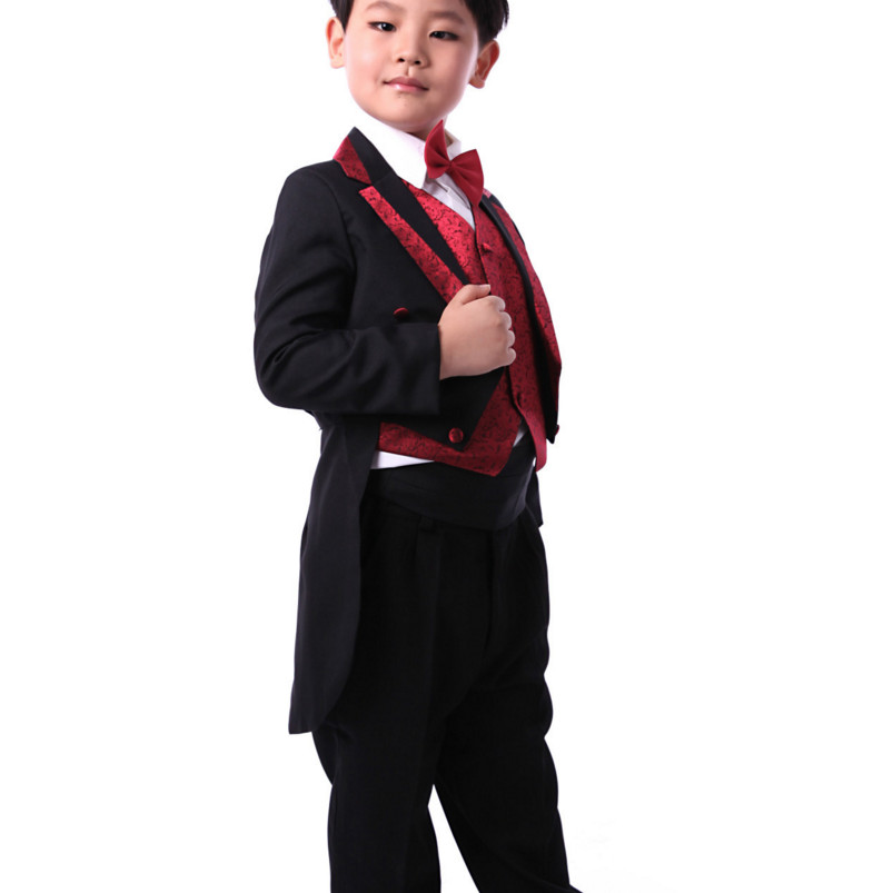 5 PCS 2018 Kids Clothes Boys Formal Suits Kid Tuxedo Suit White Black Toddler Wedding Suits Boys Jacket Trousers Girdle Tie Vest