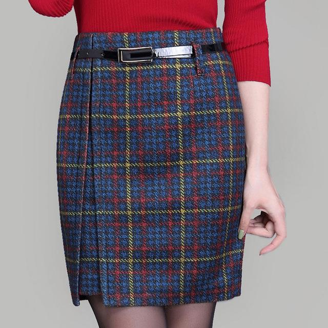 Las mujeres faldas de Lana 2016 otoño y el invierno de la nueva señora de alta cintura de la falda femenina de mini a cuadros de moda falda falda más el tamaño 4XL