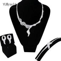 Новые Большие 4 шт Ювелирные наборы для вечерние украшение из белого золота ожерелье + браслет + серьги + кольцо свободного размера медные Бо