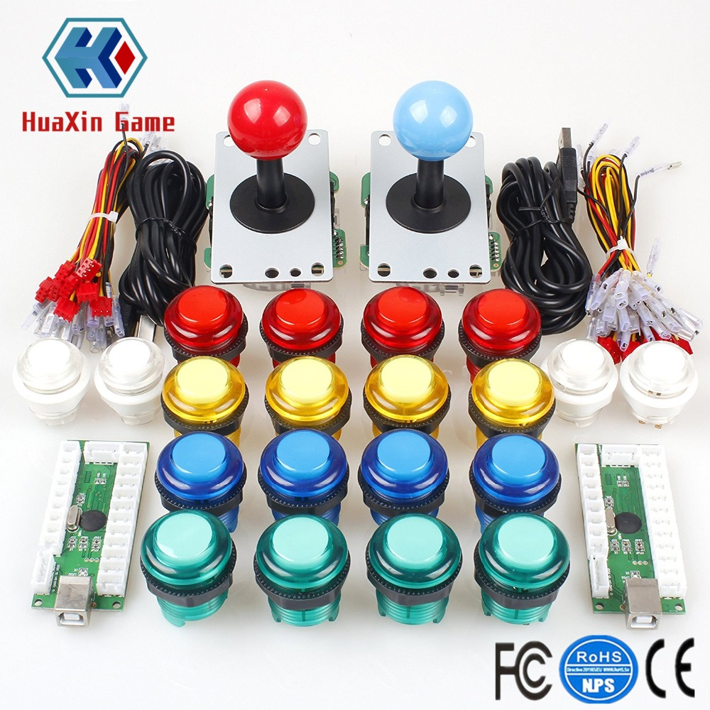Classic Arcade Joystick DIY Kit Zero Delay USB Controller + 5V Illuminated Push Buttons Wire Harness For Mame Jamma Raspberry Pi