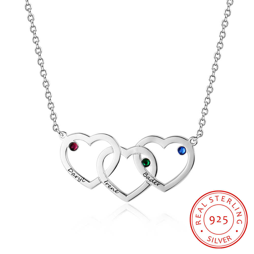Personalized Necklaces 925 Sterling Silver Jewelry Heart Pendant DIY Birthstone Name Necklace Promise Anniversary Gift for Women