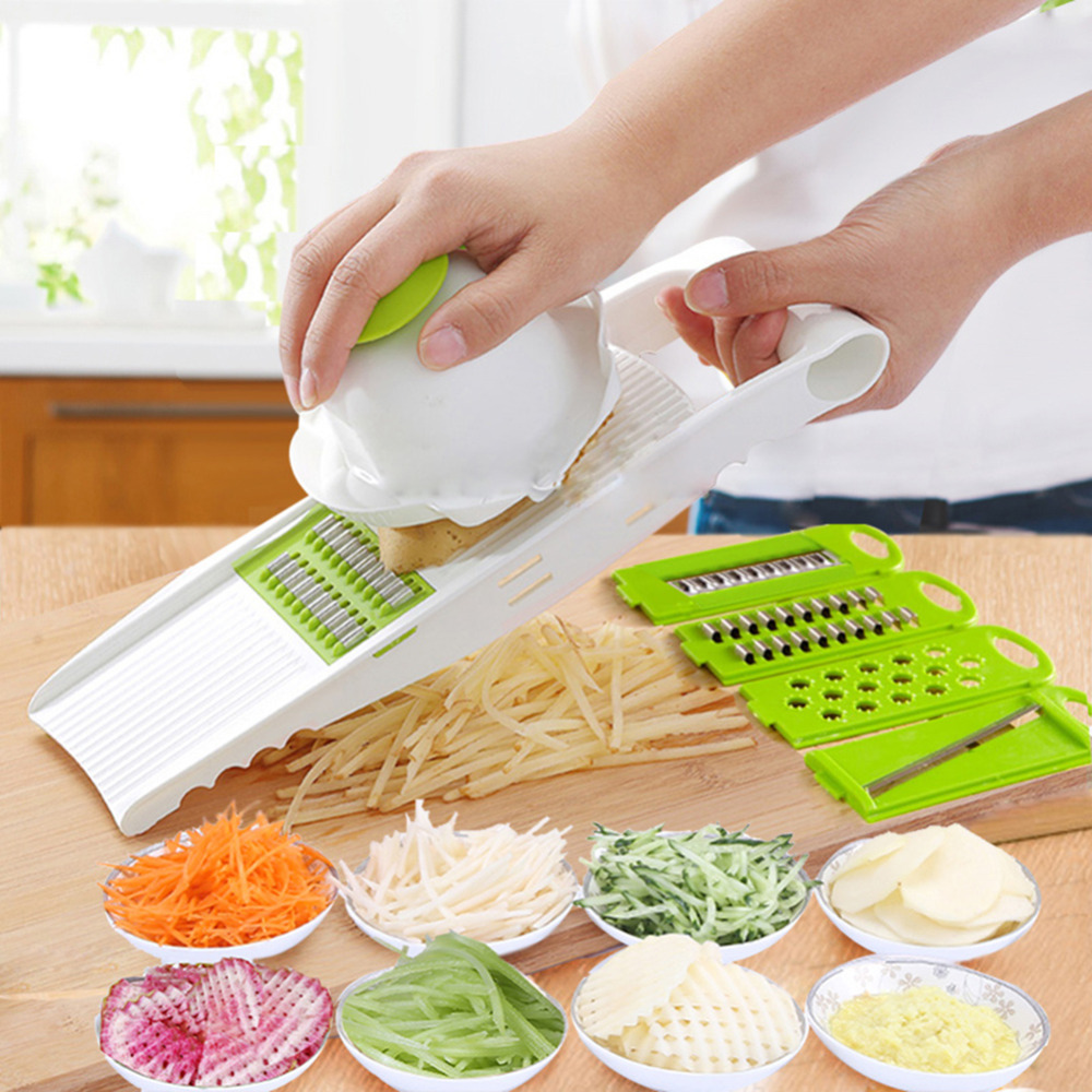 5 in 1 Multi function Plastic Vegetable Fruit Slicers Cutter Adjustable Stainless Steel Blades ABS Peeler Grater Slicer F2