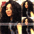 Synthetic curly lace front wig kinky curly wig for african american women synthetic wigs high quality #1B natural color