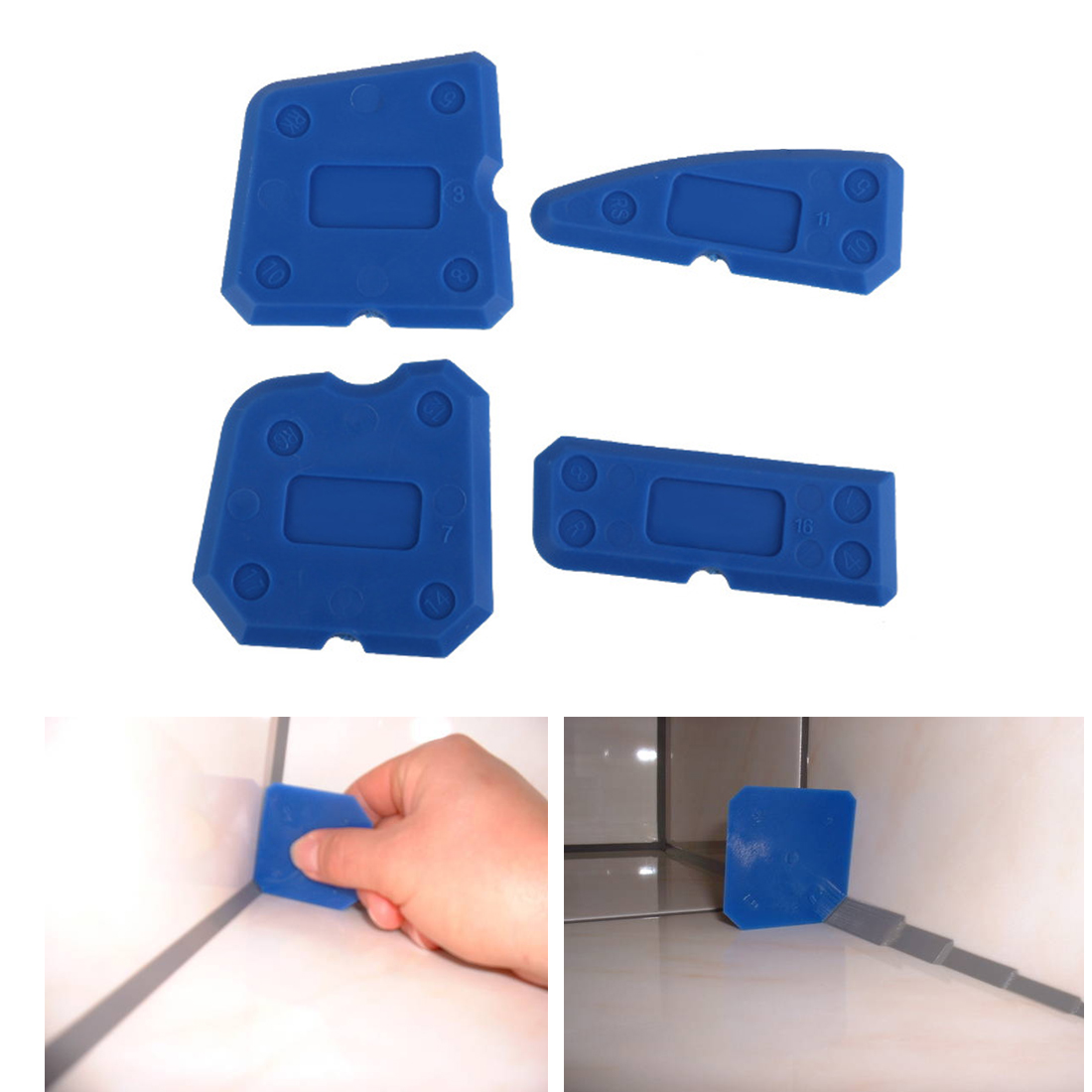 4pcs/set Hot Caulking Tool Kit Joint Sealant Silicone Grout Remover Scraper Blue Hand Tools Set Scraper Tools