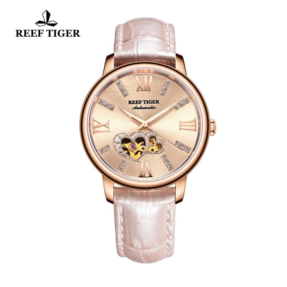 Reef Tiger/RT Luxury Brand Women Watches Rose Gold Automatic Watches Leather Strap  Diamond Watches Reloj Mujer 2019 RGA1580Reef Tiger/RT Luxury Brand Women Watches Rose Gold Automatic Watches Leather Strap  Diamond Watches Reloj Mujer 2019 RGA1580
