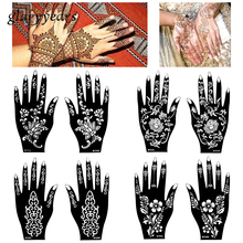 15 Designs 1 Pair Hands Mehndi Henna Stencil Flower Lace Tattoo Airbrush Painting For Women Hands Art Tattoo Stencils Waterproof