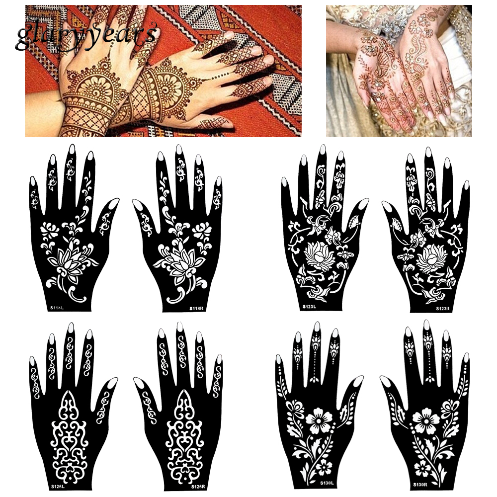 Henna Style Tattoos Lace Tattoo: Aliexpress.com : Buy 15 Designs 1 Pair Hands Mehndi Henna