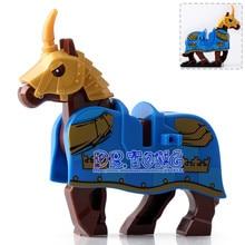 DR.TONG 20PCS/LOT XH595 Knight Wars Blue Horse Medieval Rome Knights Bule Crown Building Blocks Bricks Toys Child Gifts X0158