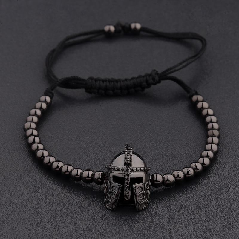 New Design Black CZ Stainless Steel Beads Braiding Buddha Bracelet Spartan Helmet Charm Bracelets For Women/Men Jewelry AB1016 3