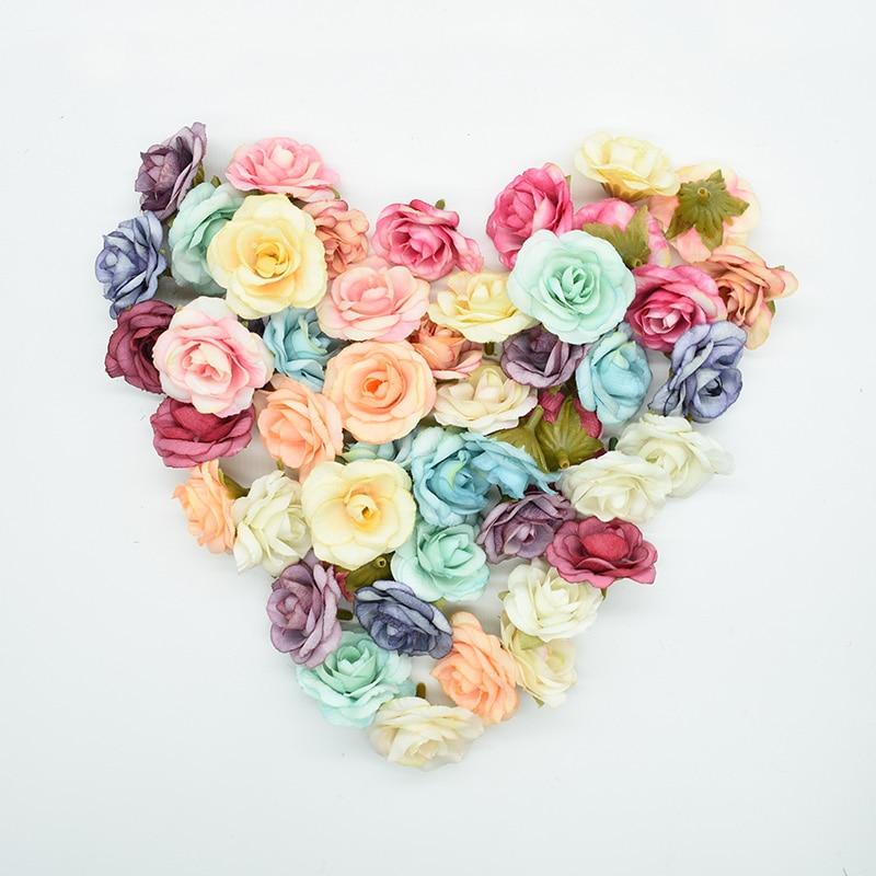 Multicolore 10 pièces 4 cm fleurs artificielles pour la décoration de mariage à la maison accessoires broderies cadeaux faux mur de fleurs en soie rose
