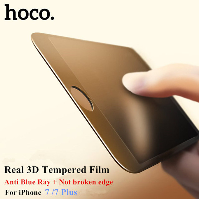 Hoco 3d curvo borda completa tampa de vidro temperado para o iphone 7 completa tela de vidro temperado para iphone 7 plus anti luz azul